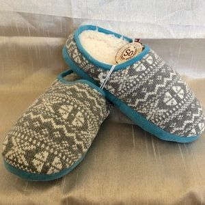 Gray And White Knit Clog Slippers